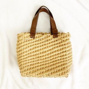 Vintage Chic Leopard Lined Straw Bag Purse